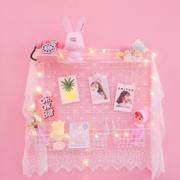 少女心粉色网格照片墙相框墙铁艺置物架子ins宿舍装饰壁挂相片墙