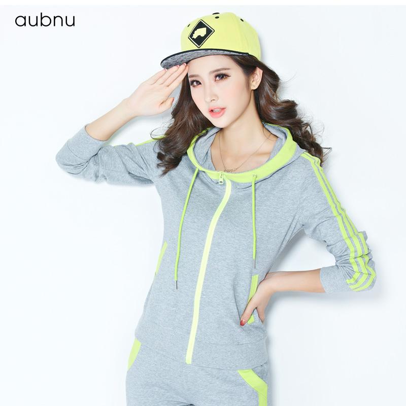 aubnu 运动套装女2014秋装新款女士卫衣长袖韩版休闲套装 春秋