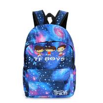 韩版时尚潮流中学生星空书包潮帆布背包男女星空双肩包tfboys书包