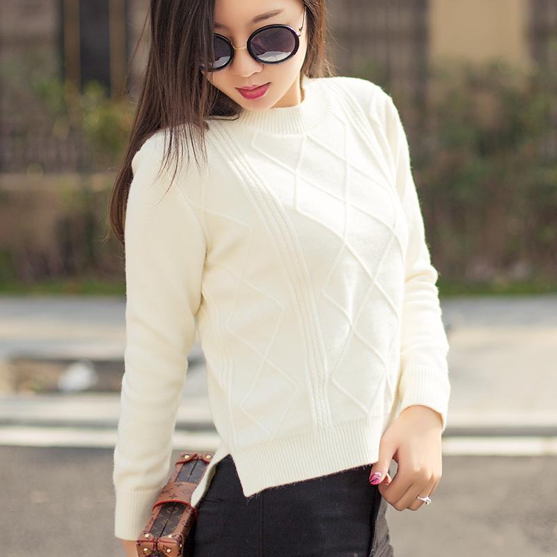 毛衣女短款2016新款韩版秋冬套头宽松 白色针织衫女修身长袖百搭
