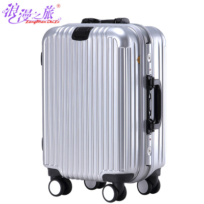Romance Trolley Wheels 24-inch aluminum frame suitcase suitcase 20-inch sub tide men and women boarding bags