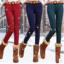 Jane STYLE 2014 new han edition women's plus velvet upset female polar fleece elastic jeans to keep warm