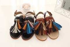 欧美学院甜美糖果流苏休闲凉鞋 皮带扣低跟凉鞋   186-95   现货 鞋城B7
