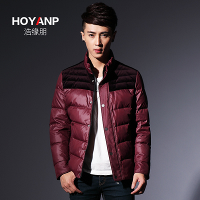 Hao Peng edge 2014 new men Slim Down genuine stitching Discounted winter coat tide yrf