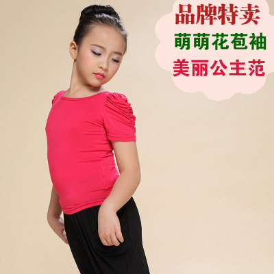 Little girls dance clothing tops summer short-sleeved suit children's clothes and dance clothes lantern sleeve cotton shirt T-shirt