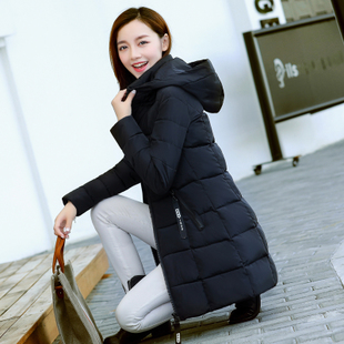 女士棉袄中长款棉服女2018女装大码冬季外套连帽时尚棉衣