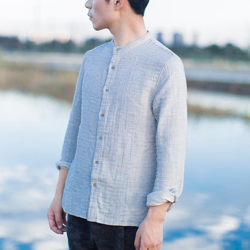 几立|双层棉灰色立领衬衫厚 男士修身型纯色衬衫文艺复古风衬衣