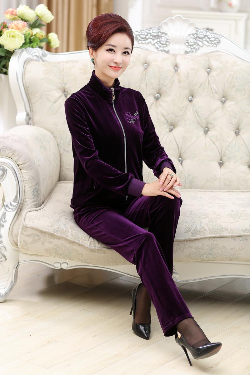 中老年棉袄_2015新款长袖妈妈装秋装两件套金丝绒外套中老年女装休闲运动套装