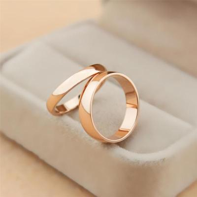 Simple glossy rose gold ring on the ring tail ring Korean men and women of color gold titanium steel couple rings Tanabata gift
