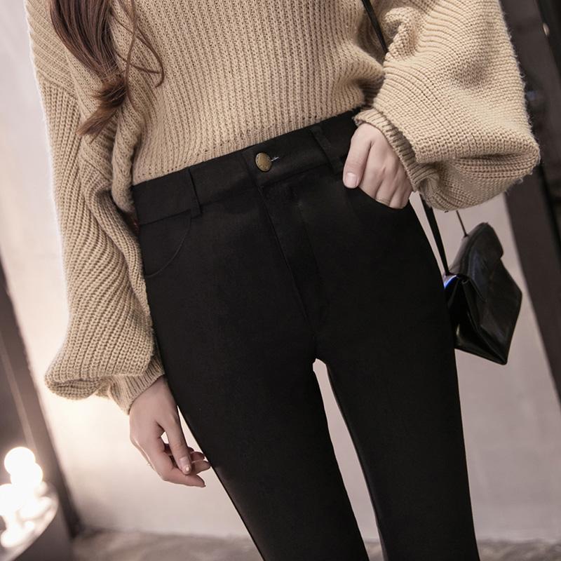 秋款打底裤外穿不抽丝加绒加厚长裤小脚裤修身九分女裤冬季外裤潮