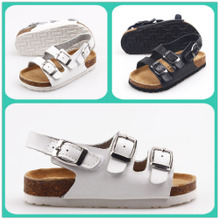 Lartus summer boys and girls shoes authentic leather Roman sandals Velcro big child cork soles cool shoes