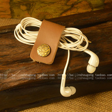 Leather headphones bobbin winder hand receive real leather buckle up hub button type coil winding wire clip