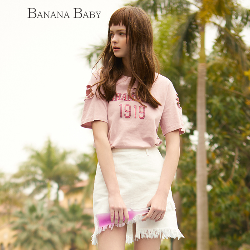 BANANA BABY2017春夏新款日系棉质个性抓破洞短袖T恤女潮字母上衣