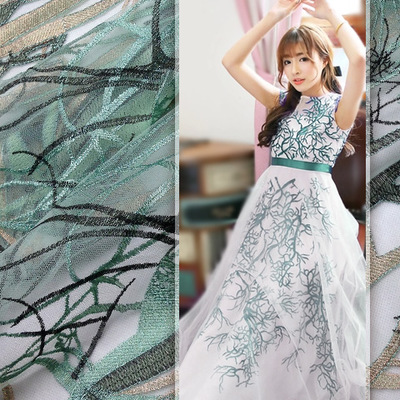 Qian Yuan spent months locate gold mesh embroidery lace fabric Heavy tree multicolor flower embroidery clothing fabrics