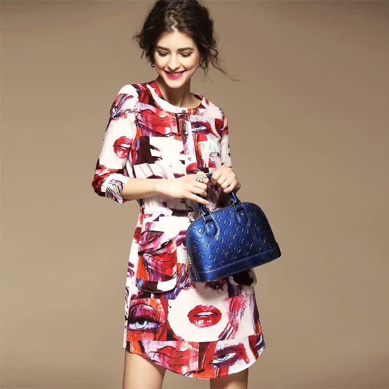 欧洲站2015春夏新款女装欧美桑蚕丝抽象印花中袖真丝连衣裙修身女