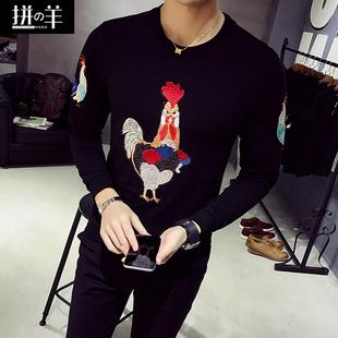 韩版长袖T恤男士短袖修身圆领刺绣体恤潮男打底衫夏季半袖上衣服