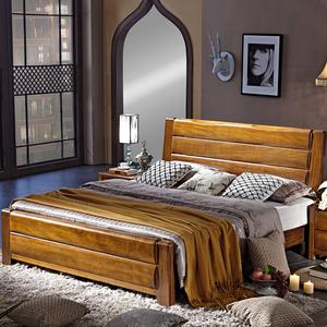 全实木床 胡桃木床 1.8米双人床 1.5米中式床 现代卧室家具床包邮