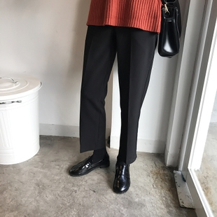 秋冬基础款简洁百搭高腰纯色直筒长裤显瘦西裤裤女