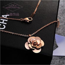 Ms stereo camellia necklace South Korea titanium steel 18 k rose gold first act the role ofing is tasted his girlfriend a birthday gift valentine's day