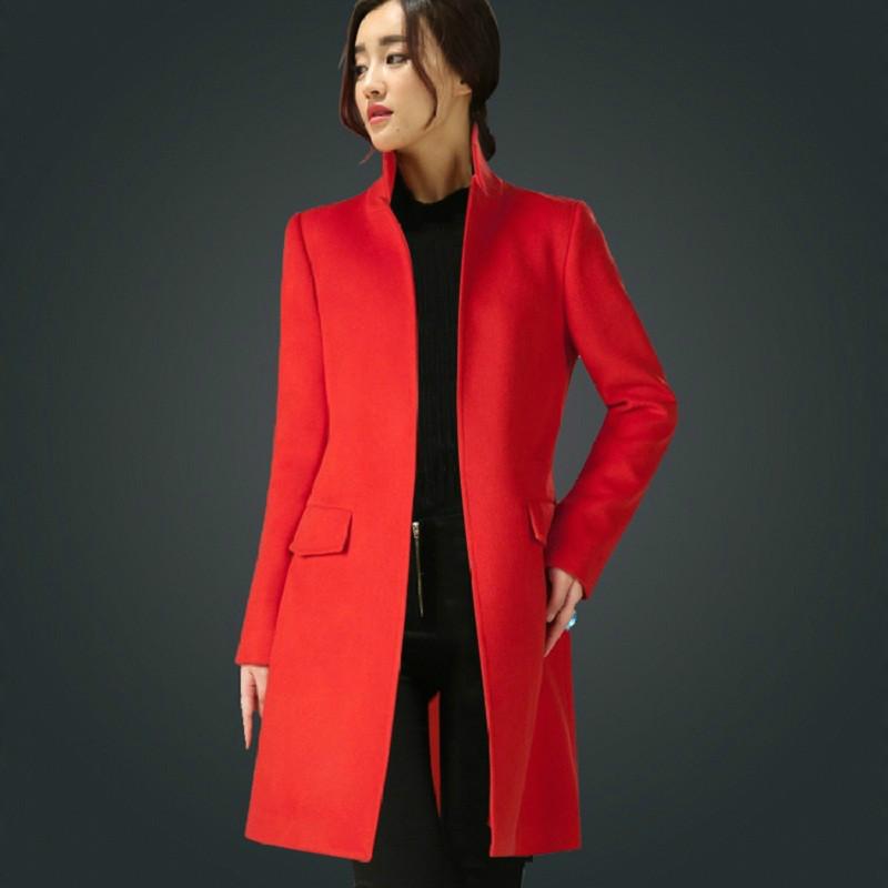 【天天特价】新款韩版立领中长款大衣女修身毛呢外套大码呢子大衣