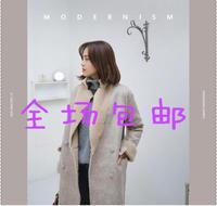 2015韩国代购大衣女中长款长袖外套纯色冬季加厚女毛领宽松驼色