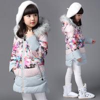 女童秋装棉服儿童装冬季新款中长款大衣加厚棉袄外套碎花女孩衣服