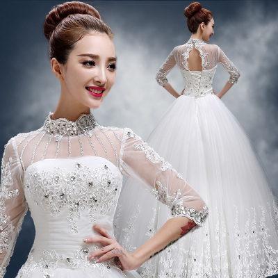 Love is still true Qi autumn and winter wedding dress 2014 new fashion long-sleeved lace collar vintage diamond thin
