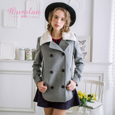 Ouluo Lan 2014 winter new Korean Slim double-breasted wool coat lapel long woolen coat female
