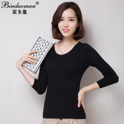 2014 new autumn and winter wild Slim V-neck short paragraph thick long-sleeved knit tunic women bottoming shirt