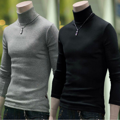 Men's Cotton Flax Slim sweater hedging thick winter sweater turtleneck sweater bottoming shirt men