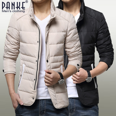 Pan-off winter new men's stand-up collar jacket tide men's slim and stylish Korean Slim Down Jackets Tips