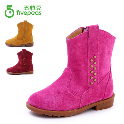 2014 new winter boots for girls in leather boots rivet Korean children plus velvet boots snow boots winter boots