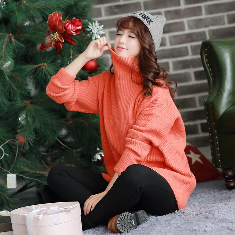 舒雪儿新款宽松中长款大码毛衣女套头韩国学生针织衫女潮