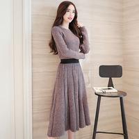 秋装女装2016新款长袖针织连衣裙韩版潮中长款修身套装裙收腰裙子