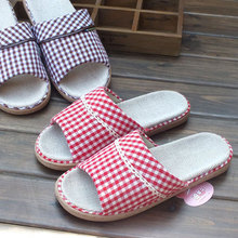 Japan and South Korea is a small and pure and fresh household indoor non-slip floor slippers for men and women lovers flax slippers cool slippers at home