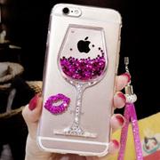 苹果iphone5s 6s 7酒杯炫彩闪水钻液体流动流沙挂绳6plus手机壳SE