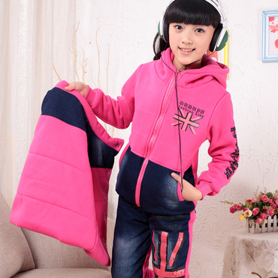 Kids sweater plus thick velvet three-piece suit, boys and girls 2014 new fall and winter leisure suit tide big boy child