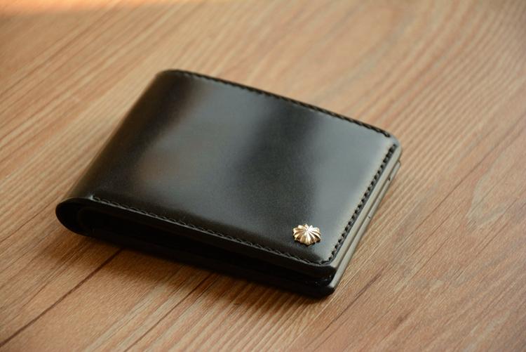 日本新禧黑色多脂科尔多瓦马臀皮钱包 手工制作goro's短财布