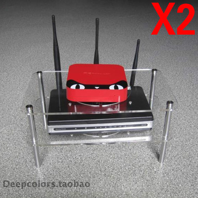 Double-top boxes cat ADSL broadband router wireless router radiator cooling rack acrylic stand