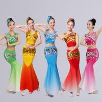 傣族舞蹈演出服装表演服饰裙云南孔雀舞少数民族亮片修身鱼尾裙女