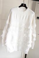 韩国东大门秋冬装新款个性流苏复古麻花中长款针织衫长袖厚毛衣