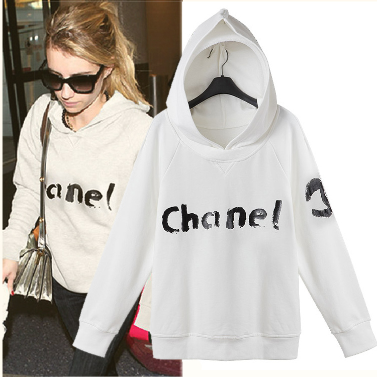 2014 early autumn new women wild concise letter hooded cashmere sweater white casual pullover Specials