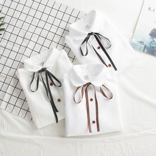 2018秋装白衬衫女长袖韩范灯芯绒蝴蝶结学生宽松百搭衬衣