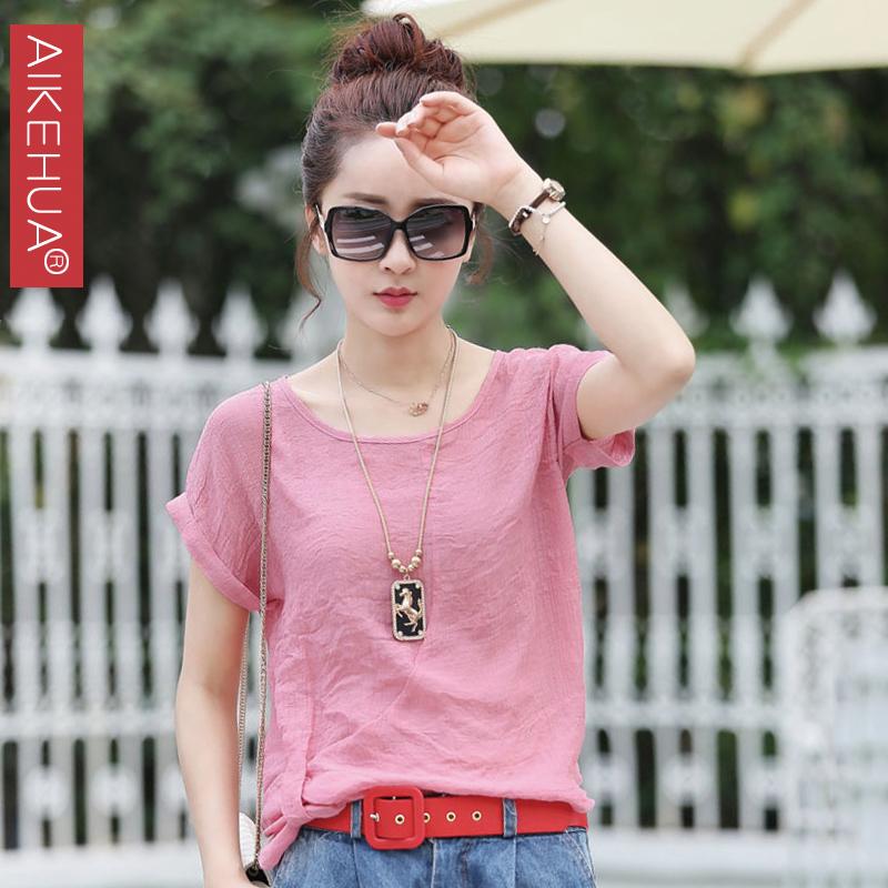 韩版宽松蝙蝠袖上衣女夏季2014新款夏装女装纯棉圆领短袖T恤潮