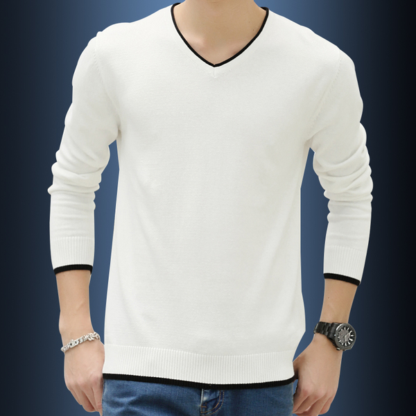 Men's thick winter sweater men sweater Korean Slim V-neck sweater knit cotton sweater hedging