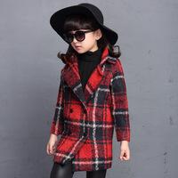 2015冬季新款外套3-16岁女童中长款呢子衣大童加厚呢子衣女孩外套