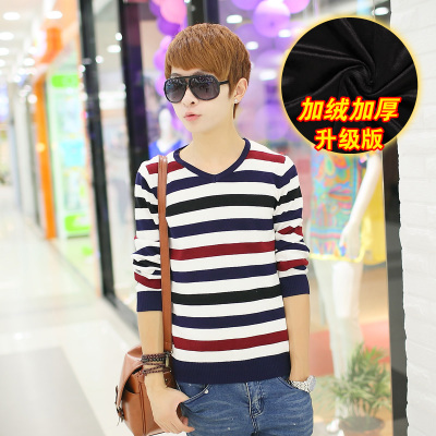 The new winter sweater plus thick velvet male Korean Slim Men sweater striped sweater teenagers tide