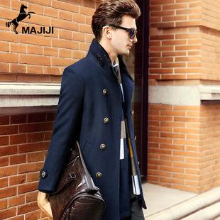 2016冬季新款男式中长款大衣修身商务立领风衣羊毛呢大衣外套