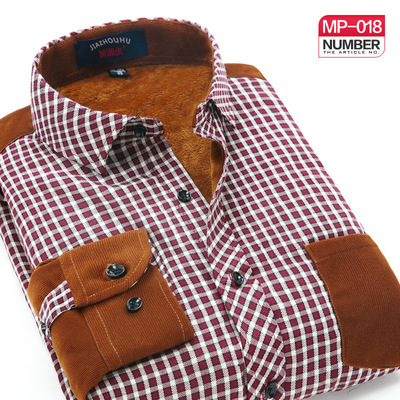 California tiger new winter men's warm thick velvet plaid shirt men's casual long-sleeved shirt stitching