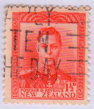 New Zealand early stamps & rsquo; George vi 1.5 p letter pin - A12